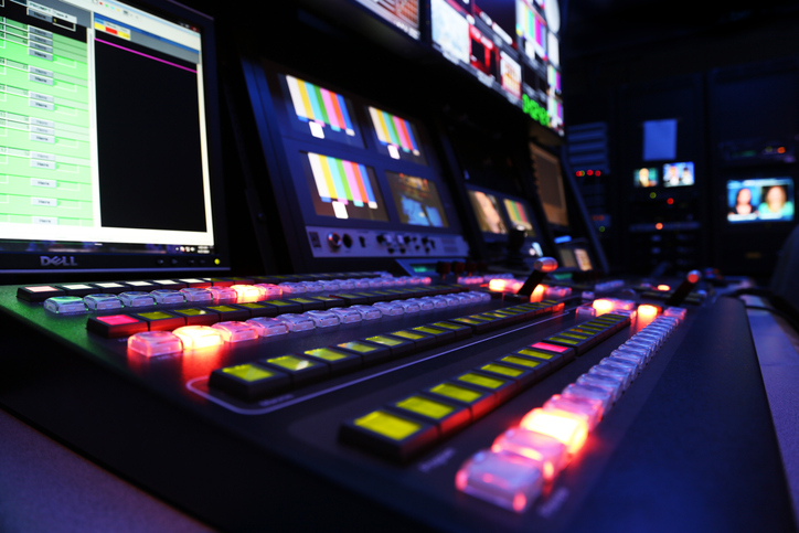 TV Production Switcher in Control Room